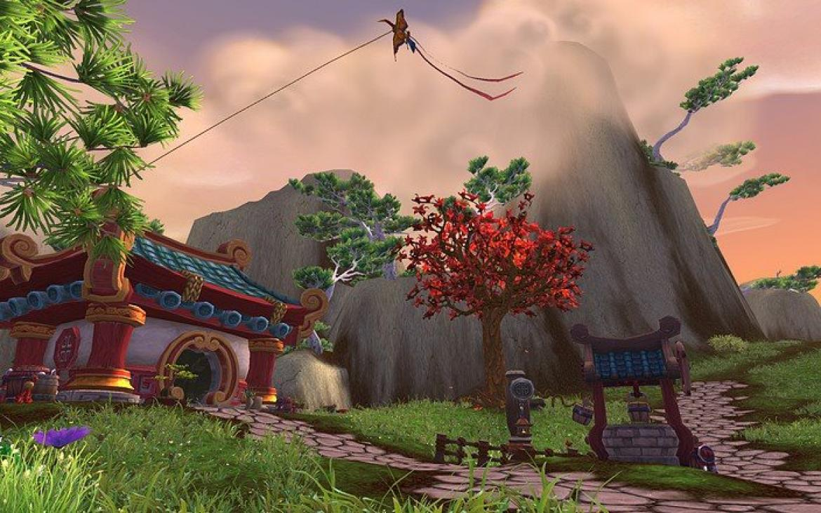Mists of Pandaria -- Pandaren architecture with a kite in the air