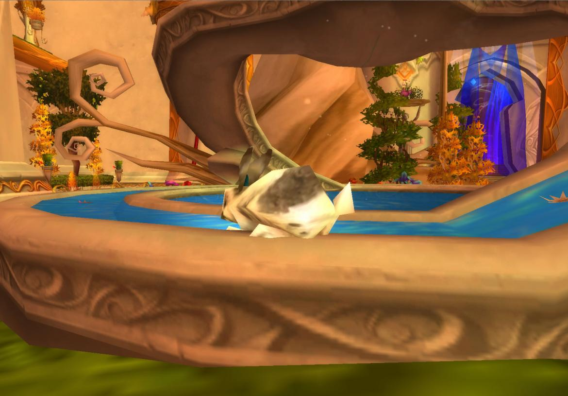 Rabbit drinking from a fountain in Silvermoon