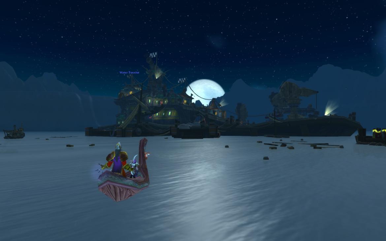 Water Traveler heading for Fizzle & Pozzik's Speedbarge