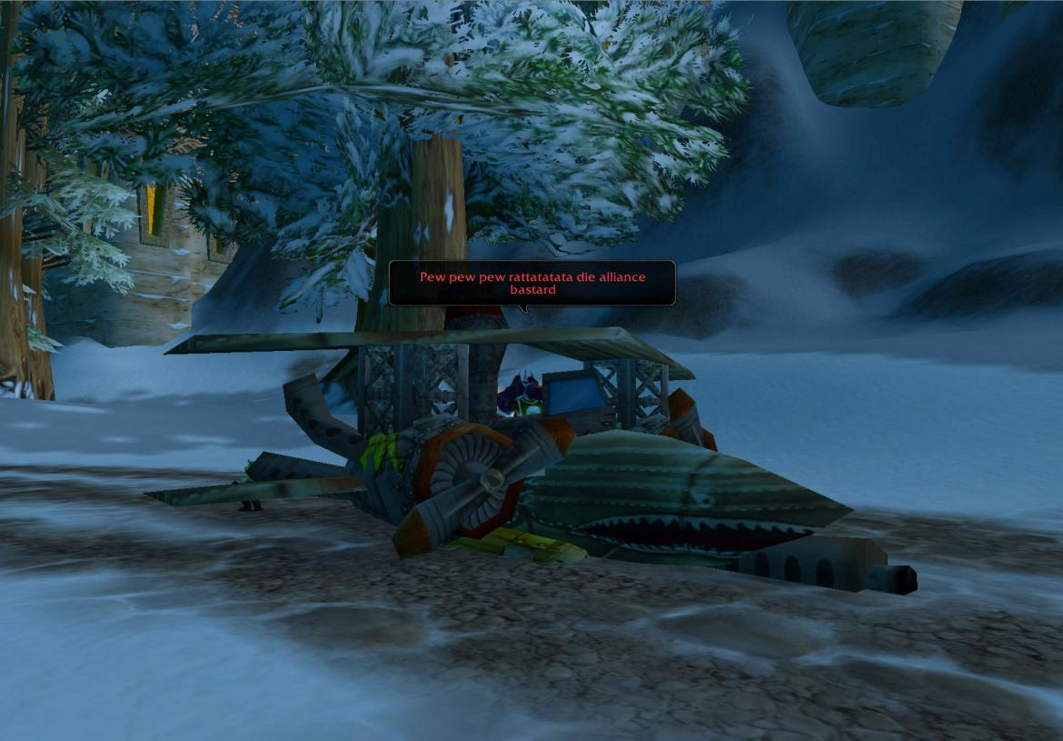 Troll at the Ironforge airfield sitting in a plane