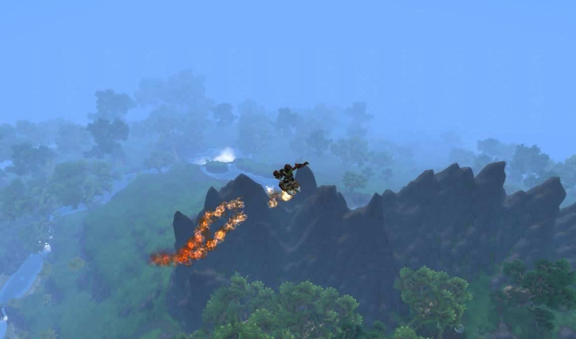 Goblin flying over a dormant volcano using rocket boots