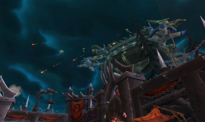 Alliance Gunship attacking Horde Fortress