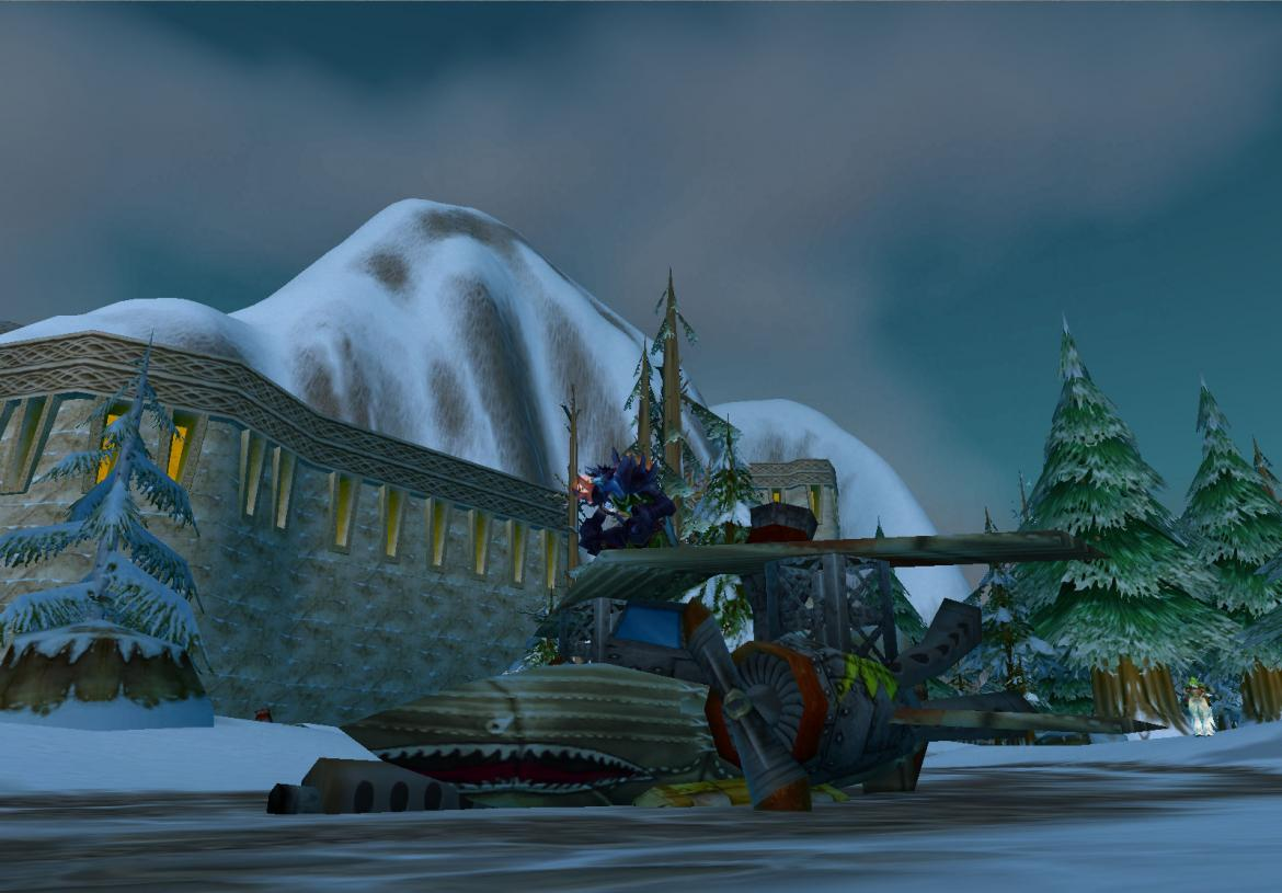 Troll at the Ironforge airfield sitting on a plane