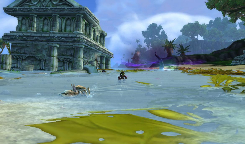 Goblin walking through shallow water