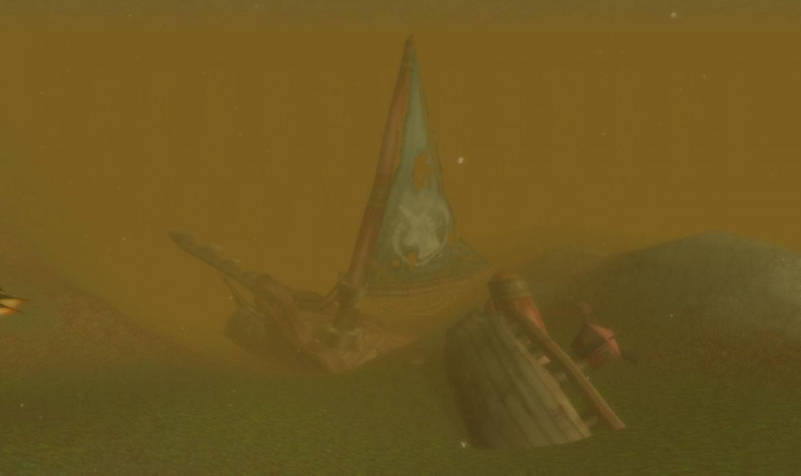 Sunken ship with a Unicorn on the sail