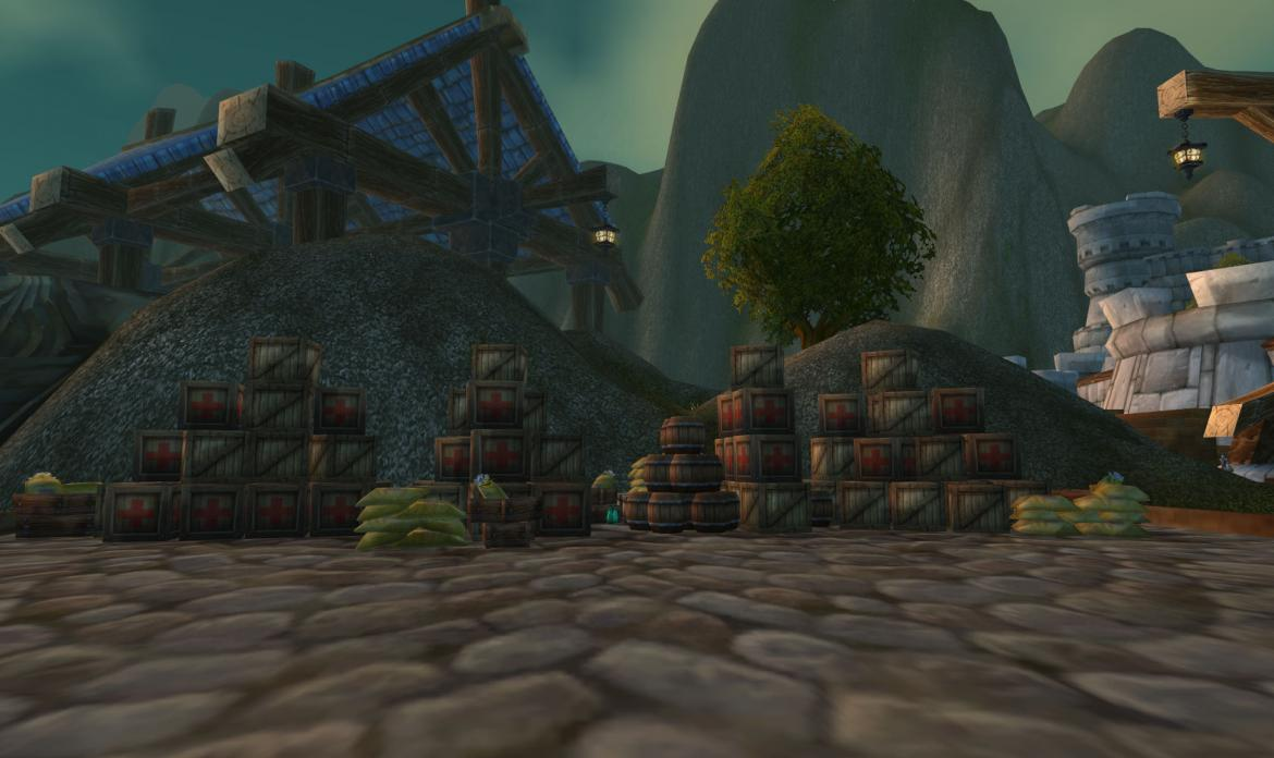Supply crates at the Stormwind harbor