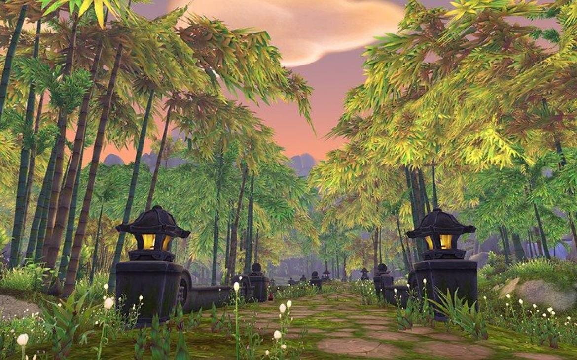 Mists of Pandaria -- Bamboo forest in The Jade Forest