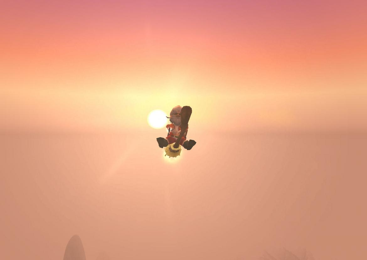 Winter Veil Gnome on a Broomstick