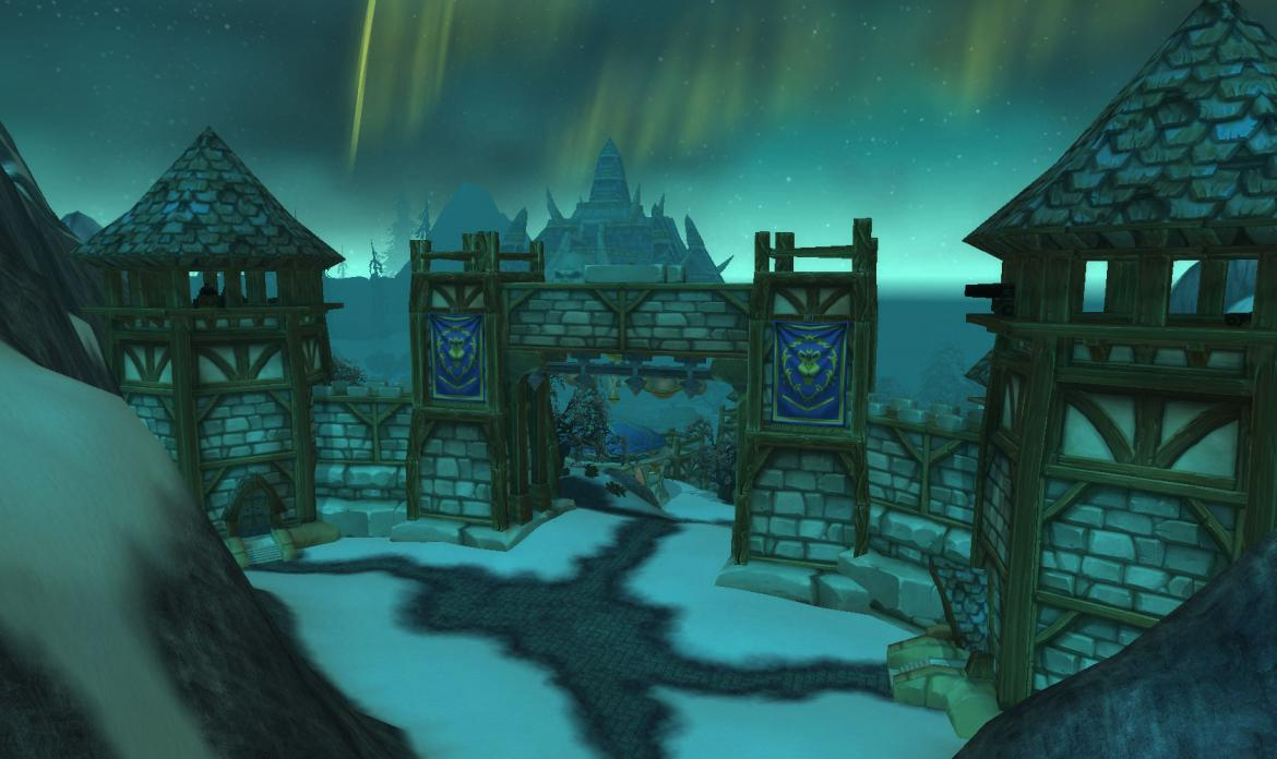Looking through the Wintergarde Keep at Naxxramas