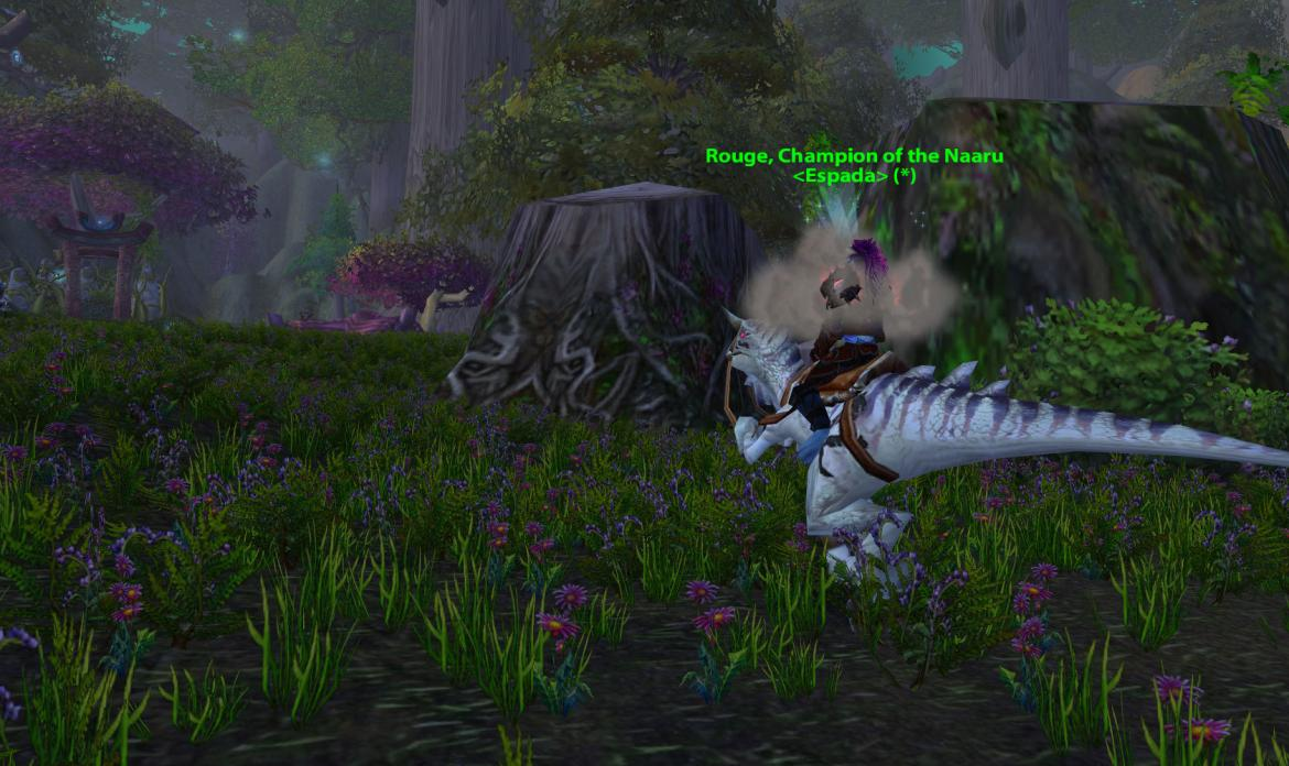 Rouge, Champion of the Naaru <Espada> riding a Ivory Raptor