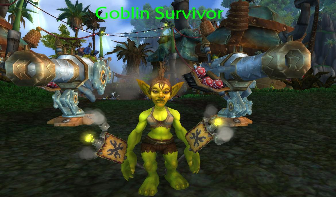 Goblin Survivor in front of 2 cannons