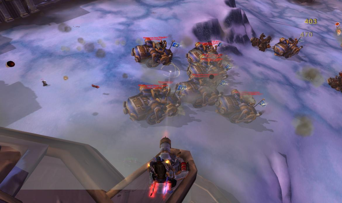 Alliance Wintergrasp Siege Engines attacking the fortress