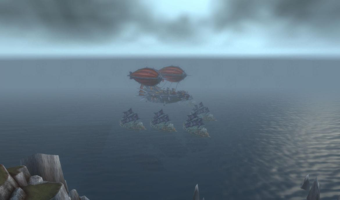 Orc zeppelin and Undead boats