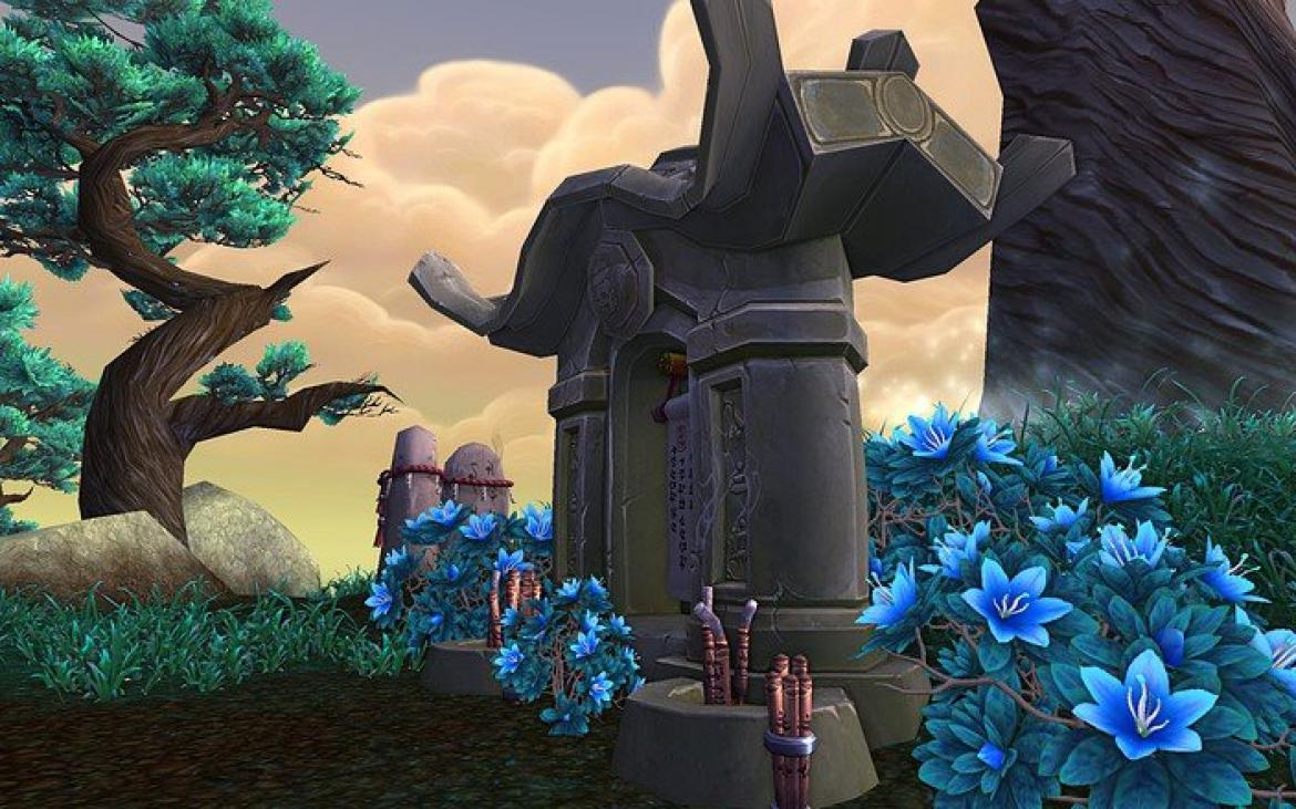 Mists of Pandaria -- Pandaren architecture with blue flowers