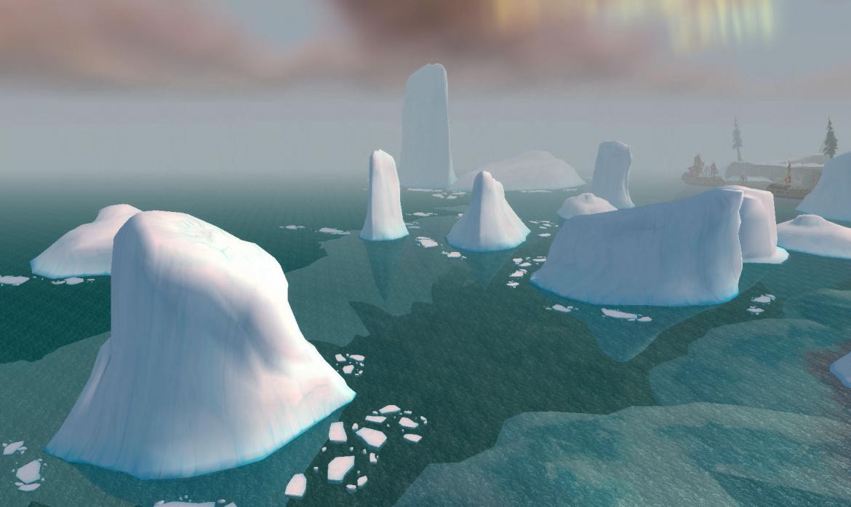 Floating chunks of ice