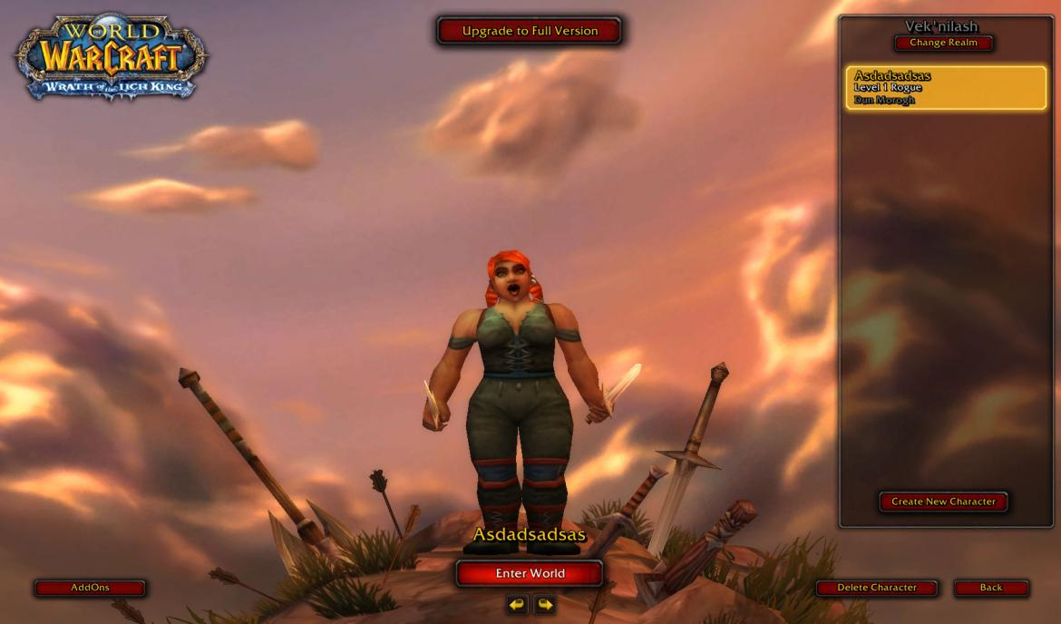 Dwarf Female at the character screen