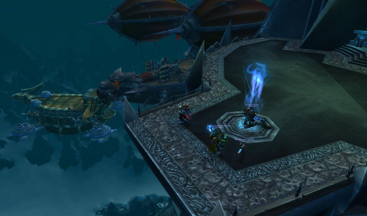 Horde and Alliance gunships at the Icecrown Citadel