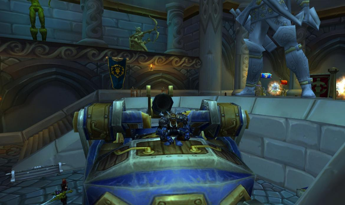 Hordie chilling in the Dalaran Alliance PvP building