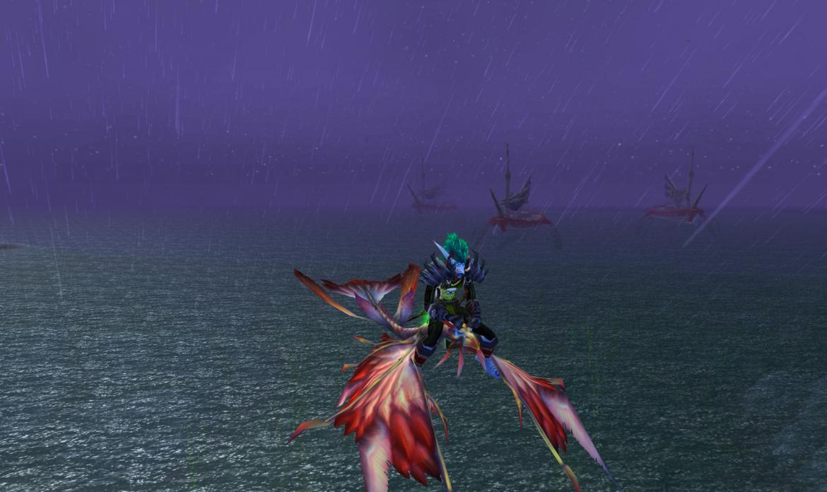Flying on a dragonhawk in the rain with Blood Elf ships in the background