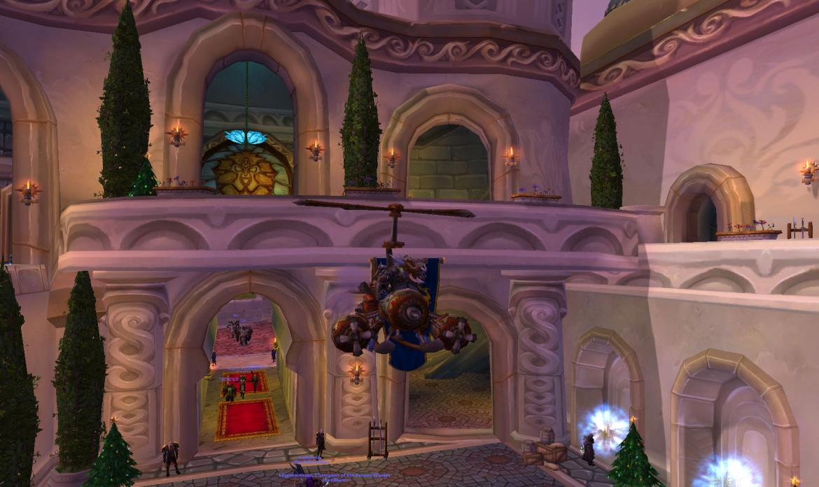 Troll in a Turbo-Charged Flying Machine over the Alliance courtyard