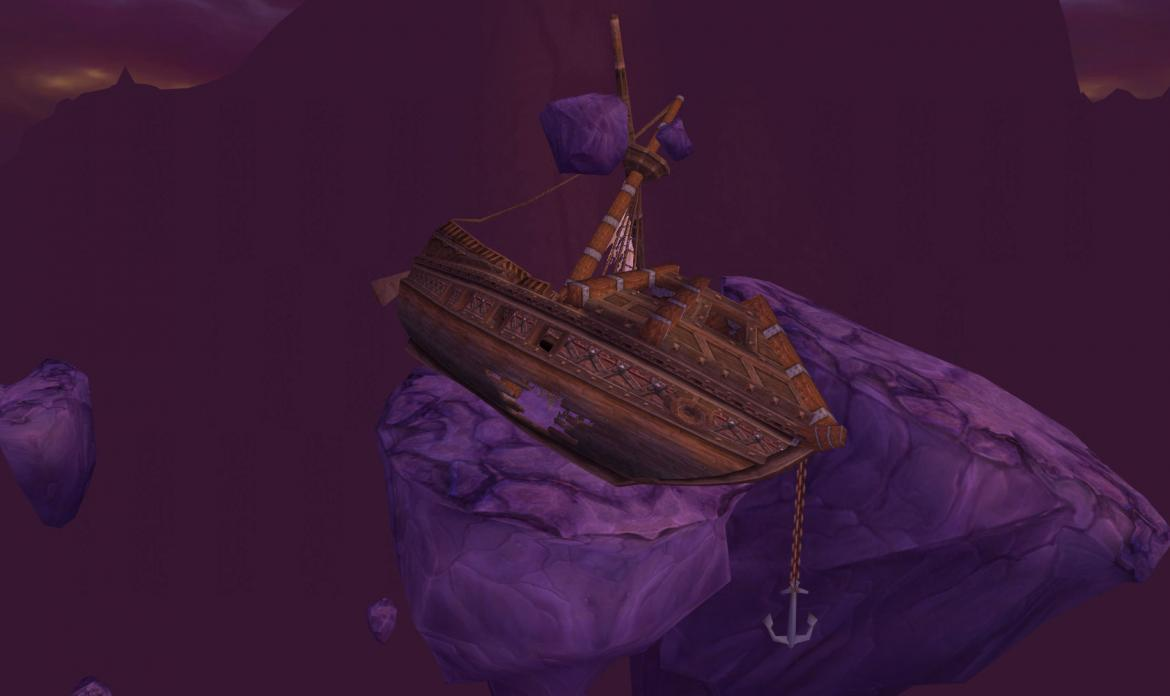 Ship stranded on a rock in the Twisting Nether