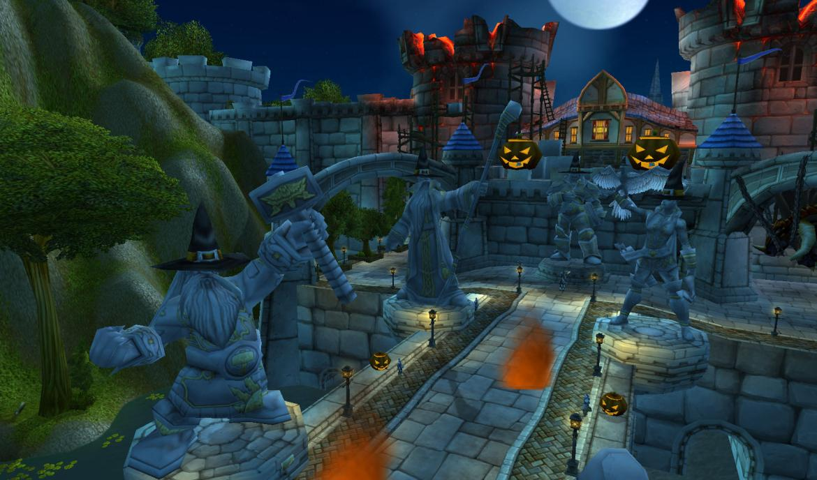 Statues in The Valley of Heroes decorated for Hallow's End