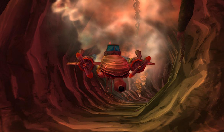 Goblin escaping an erupting volcano using an airplane