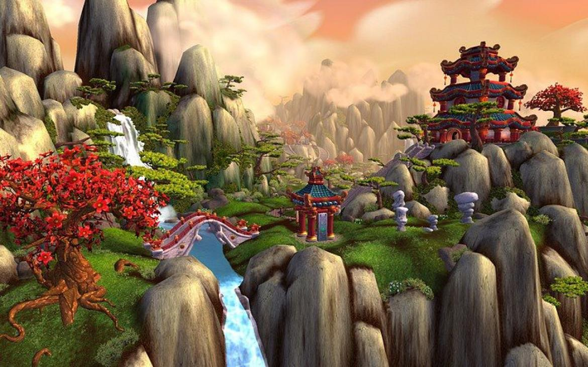 Mists of Pandaria -- Valley with a steam and trees