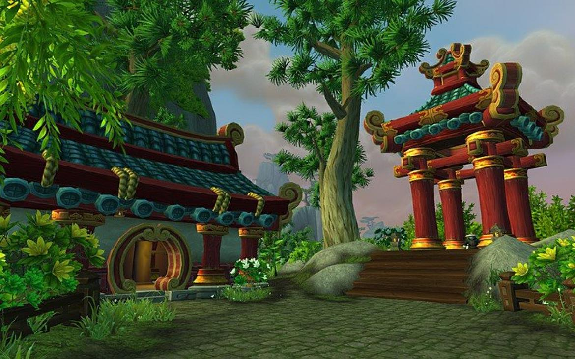 Mists of Pandaria -- Pandaren architecture at the edge of a forest