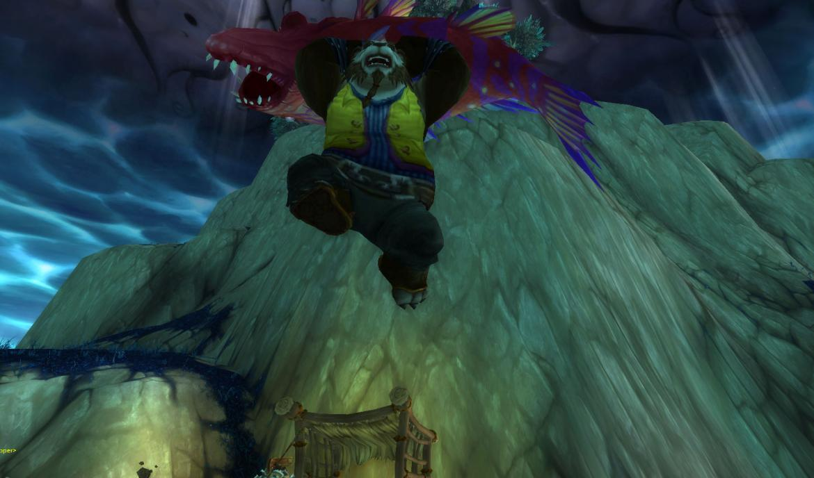 Pandaren jumping with a huge fish
