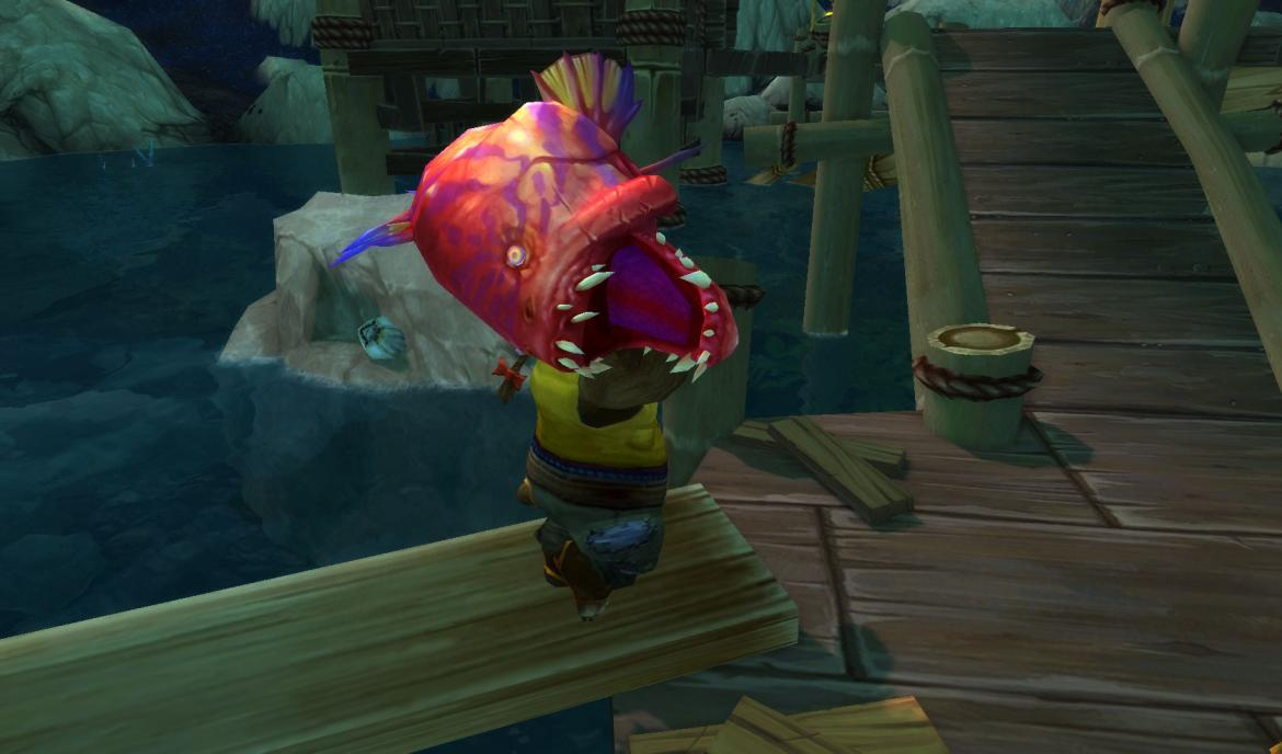 Deckhand <Crew of the Mist-Hopper> carrying a huge fish